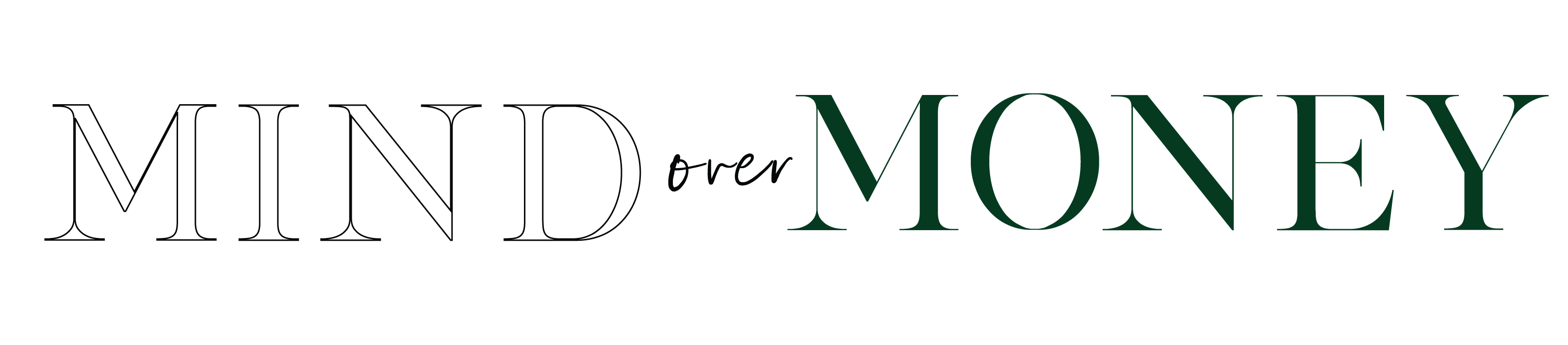 Mind Over Money vertical logo in black and green