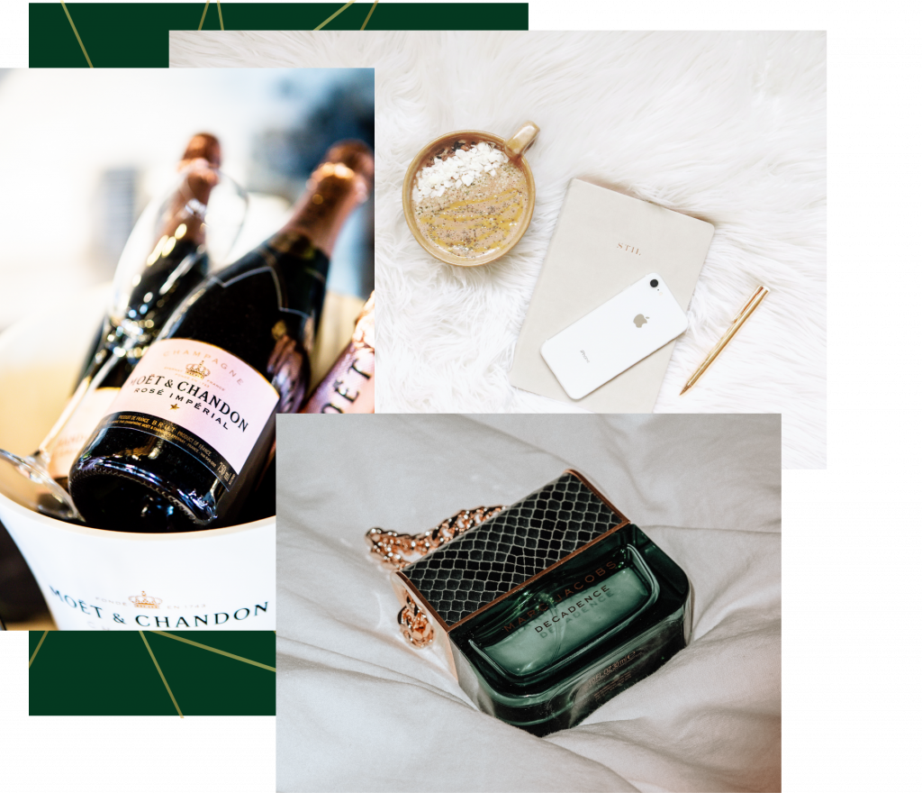 Collage of luxury items including moet champagne, a fancy jounal, and green high end perfume bottle