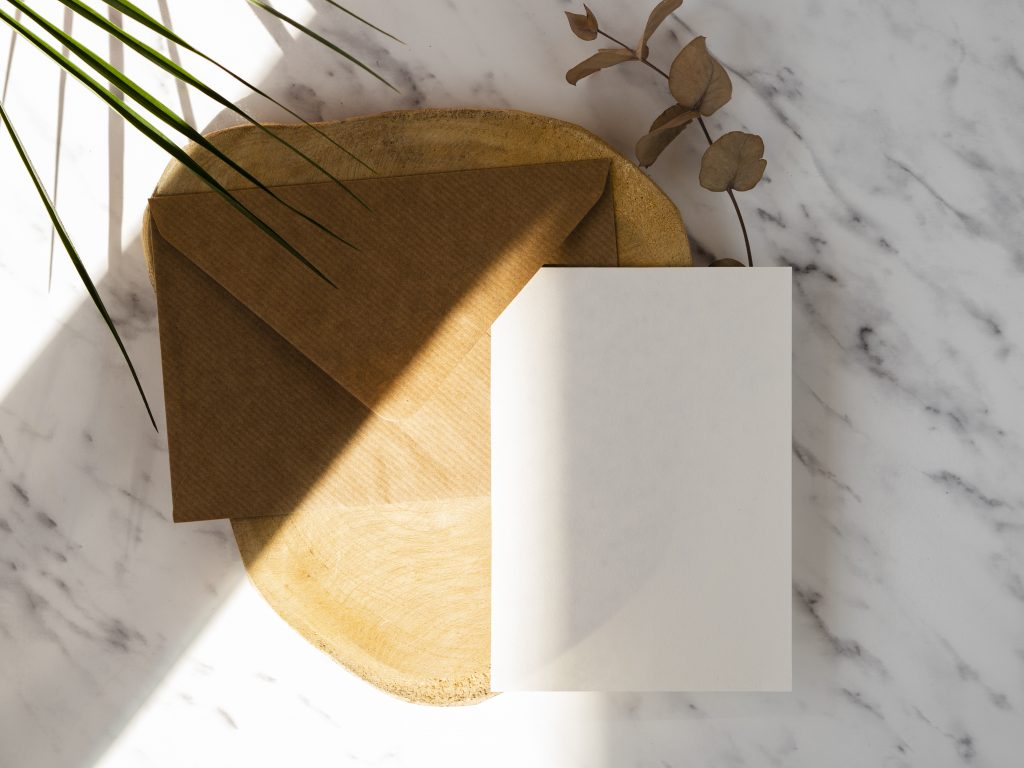 Flat lay brown envelope, white paper and green plant on marble